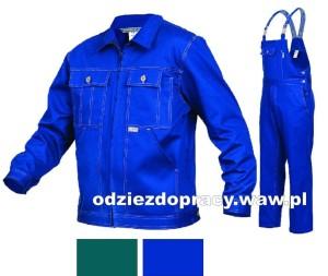 cfb52e235c2c83 SARA KORSARZ polski komplet roboczy bawełniany bluza i ogrodniczki,  niebieski i zielony
