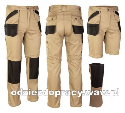 BRIXTON PRACTICAL mocne spodnie robocze 2w1 z odpinanymi nogawkami beżowe